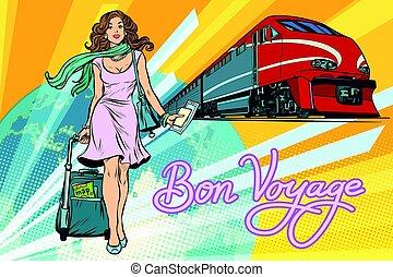 trem, passageiro, ferrovia, viagem bon