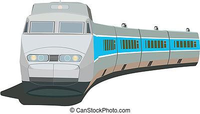 trem passageiro, rapidamente