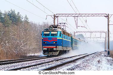 trem passageiro, rapidamente, em movimento, ao longo, a, neve, pista