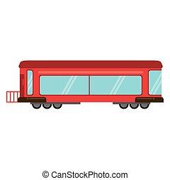 trem passageiro, trilho, vermelho, transporte