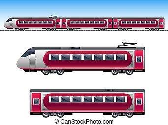 trem passageiro, vermelho