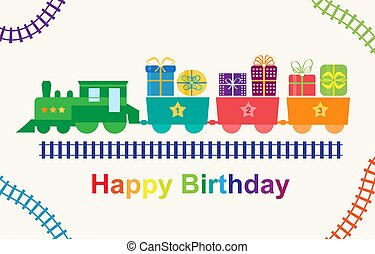 trem, presentes, feliz aniversário
