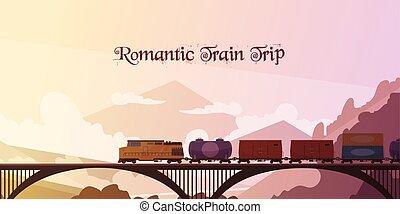 trem, romanticos, fundo, viagem