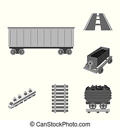 trem, símbolo, web., cobrança, vetorial, ilustração, maneira, ferrovia, icon., estoque