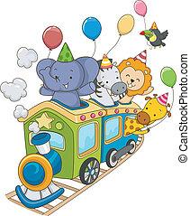 trem, safari, aniversário, animal