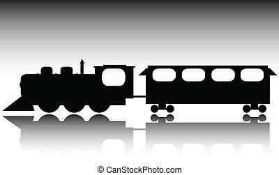 trem, silhuetas, vetorial, antigas