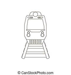 trem, silueta, ilustração