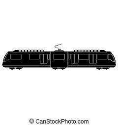 trem, silueta, isolado