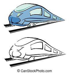 trem, silueta, modernos