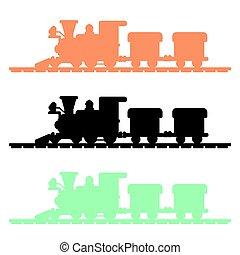 trem, silueta, vetorial