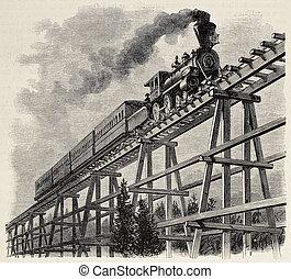 trem, sobre, ponte