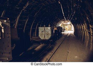 trem subterrâneo, em, pretas, mina carvão, túnel
