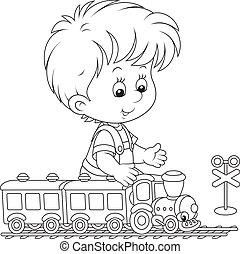trem, tocando, criança