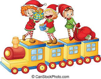 trem, tocando, crianças