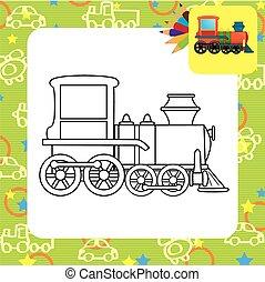 trem, toy., coloração, página