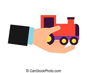 trem vagão, segurando, brinquedo, mão
