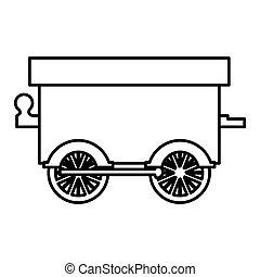 trem vagão, silueta, brinquedo, ícone