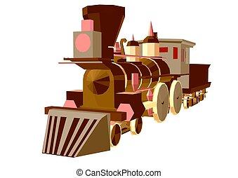 trem vapor, baixo, poly