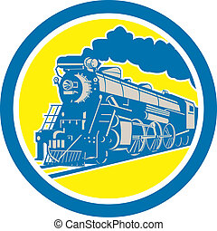 trem vapor, locomotiva, círculo, retro