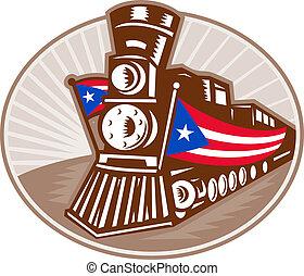 trem vapor, locomotiva, com, bandeira americana