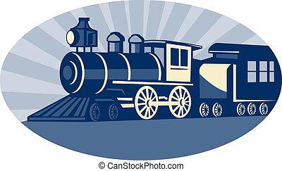 trem vapor, ou, locomotiva, vista lateral
