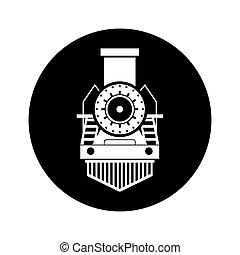 trem vapor, silueta, isolado, ícone