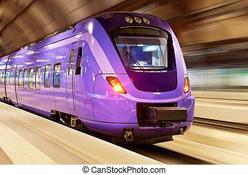 trem velocidade alto, com, borrão moção