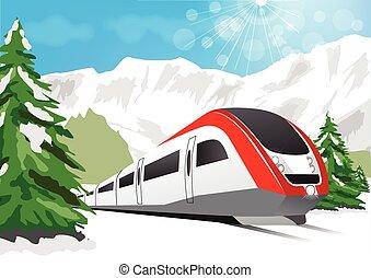 trem velocidade alto, dirigindo, experiência, de, nevado, montanhas