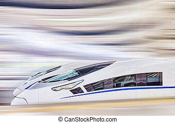 trem velocidade alto, em, a, estradas ferro, station.