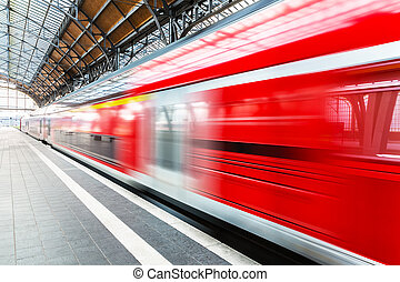 trem velocidade alto, em, estação, plataforma