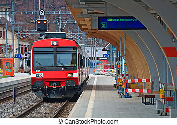 trem vermelho, suíça