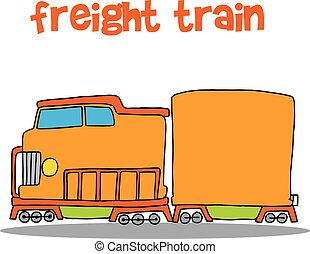 trem, vetorial, arte, frete, ilustração