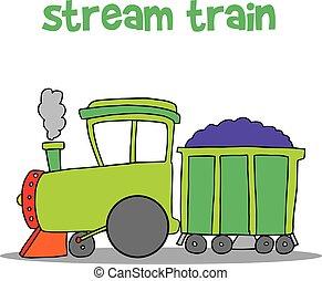 trem, vetorial, arte, vapor, caricatura