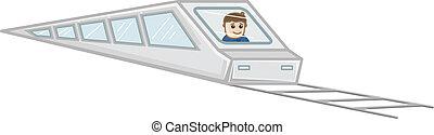 trem, vetorial, caricatura, ilustração