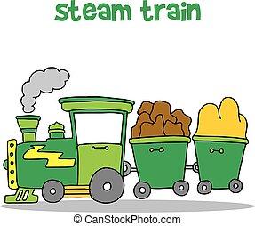 trem, vetorial, desenho, vapor, caricatura