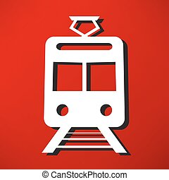 trem, vetorial, esboço