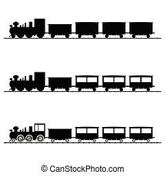 trem, vetorial, ilustração, pretas, silueta