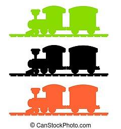 trem, vetorial, silueta