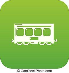 trem, vetorial, verde, rapidamente, ícone