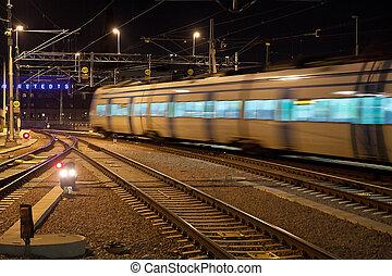 trem viajante, com, borrão moção