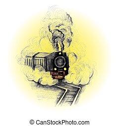 trem, vindima, emblema, símbolo, vetorial, retro, modelo, etiqueta
