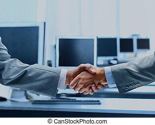 tremante, affari, hands., persone