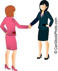 tremante, donne affari, mani