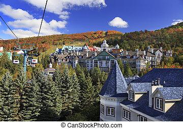 tremblant, カナダ, mont, 秋, 光景, 航空写真, ケベック