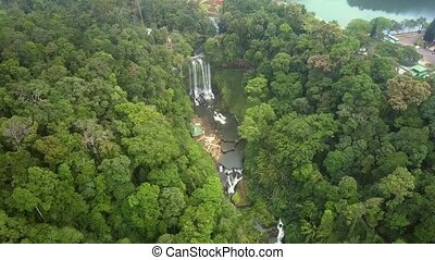 flycam shows nature reserve canyon among jungle - tremendous...