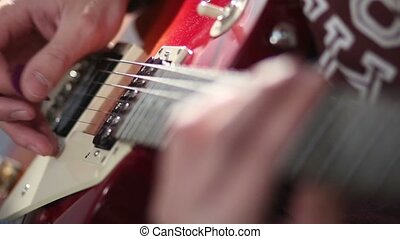 tremolo, électrique, technique, guitare, utilisation, jouer, homme