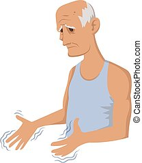 Tremor hands. Elderly man looking at the shaking hands....