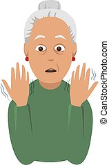 Tremor hands. Elderly woman looking at the shaking hands....
