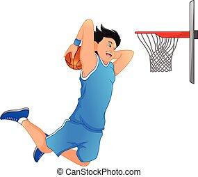 tremper, joueur, faire, basket-ball, taudis