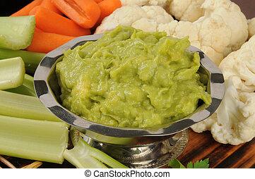 trempette, végétariens, guacamole